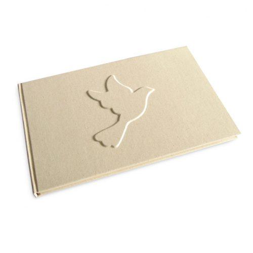 Libro de firmas con paloma en relieve . MardePapel.