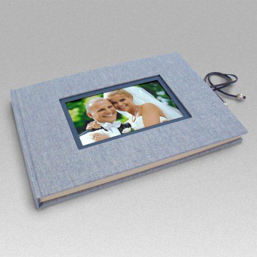 Libro de firmas lino azul con marco de foto y cierre 1. Mardepapel