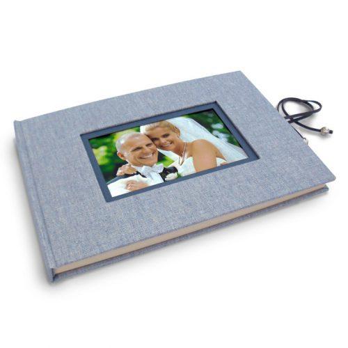 Libro de firmas lino azul con marco de foto y cierre 2. Mardepapel.