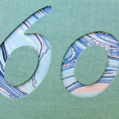 Libro de firmas de lino verde 60 años-1. MardePapel