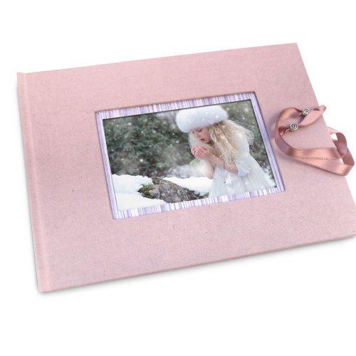 Libro de firmas rosa con marco de foto y cierre . MardePapel