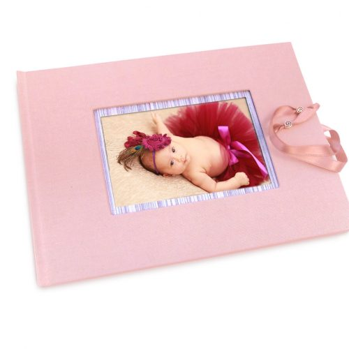 Libro de firmas rosa con marco de foto y cierre 10. Mardepapel