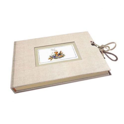 Libro de firmas lino beige con marco para foto 2. MardePapel