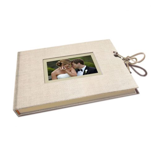 Libro de firmas lino beige con marco para foto. MardePapel