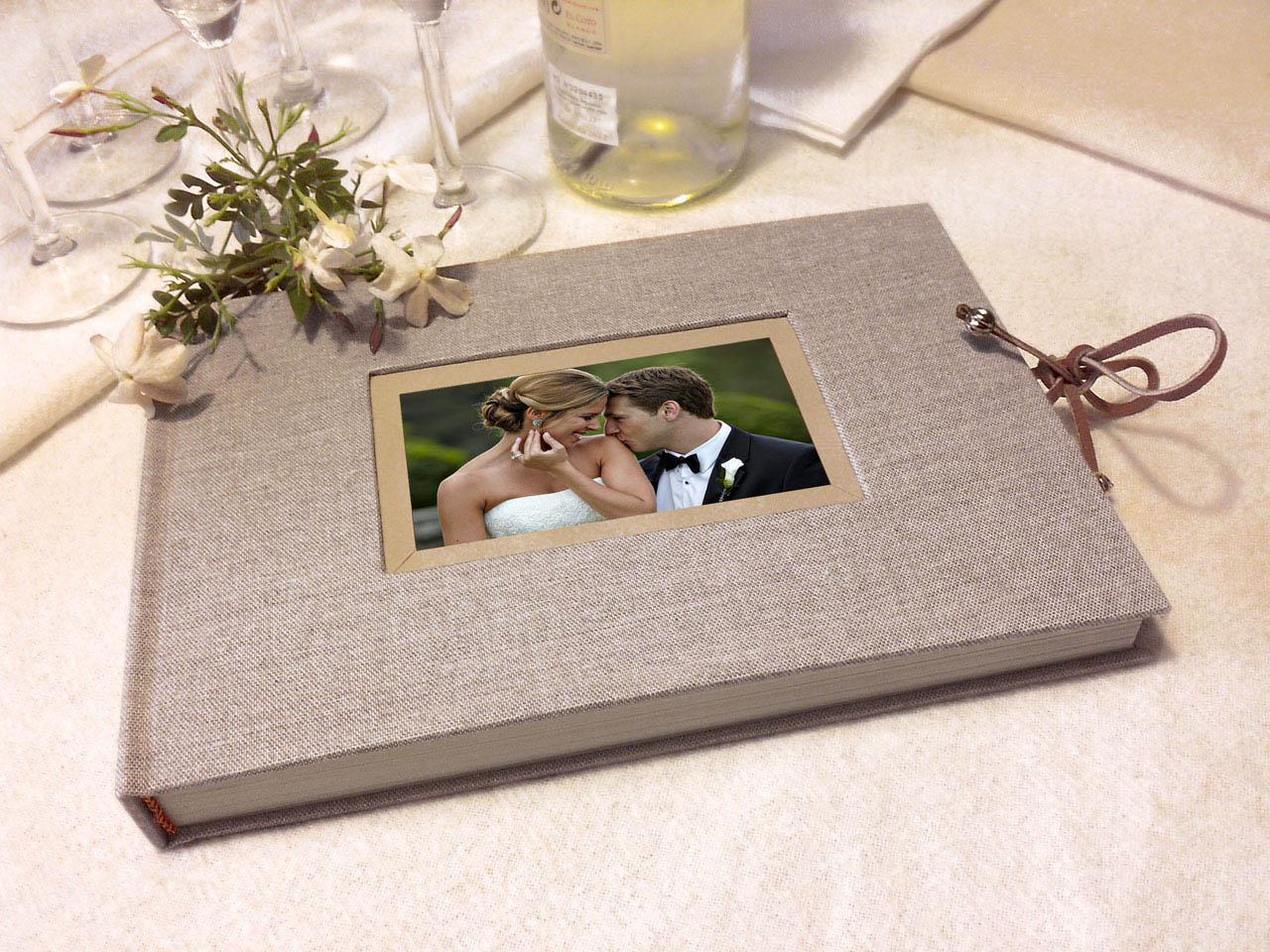 Libro de firmas lino gris marco para foto.