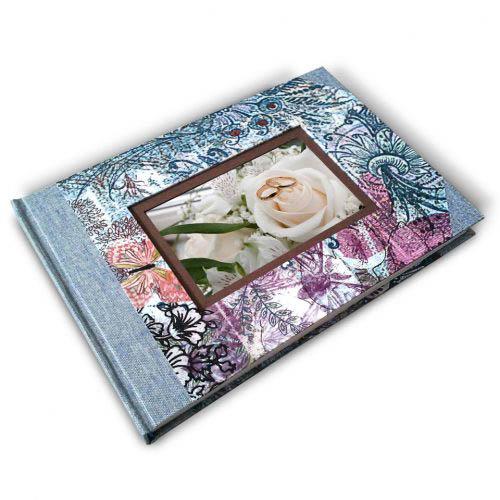 Libro de firmas colores con marco de foto. MardePapel
