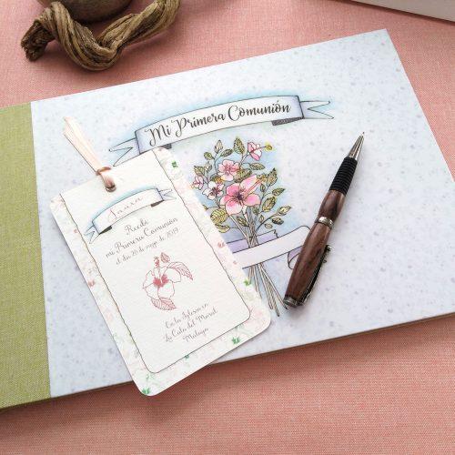 Libro de firmas niña ramo de flores 13. MardePapel