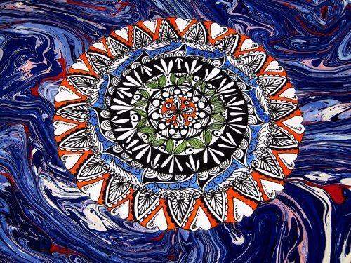 Álbum de fotos azul con mandala 1. Mardepapel
