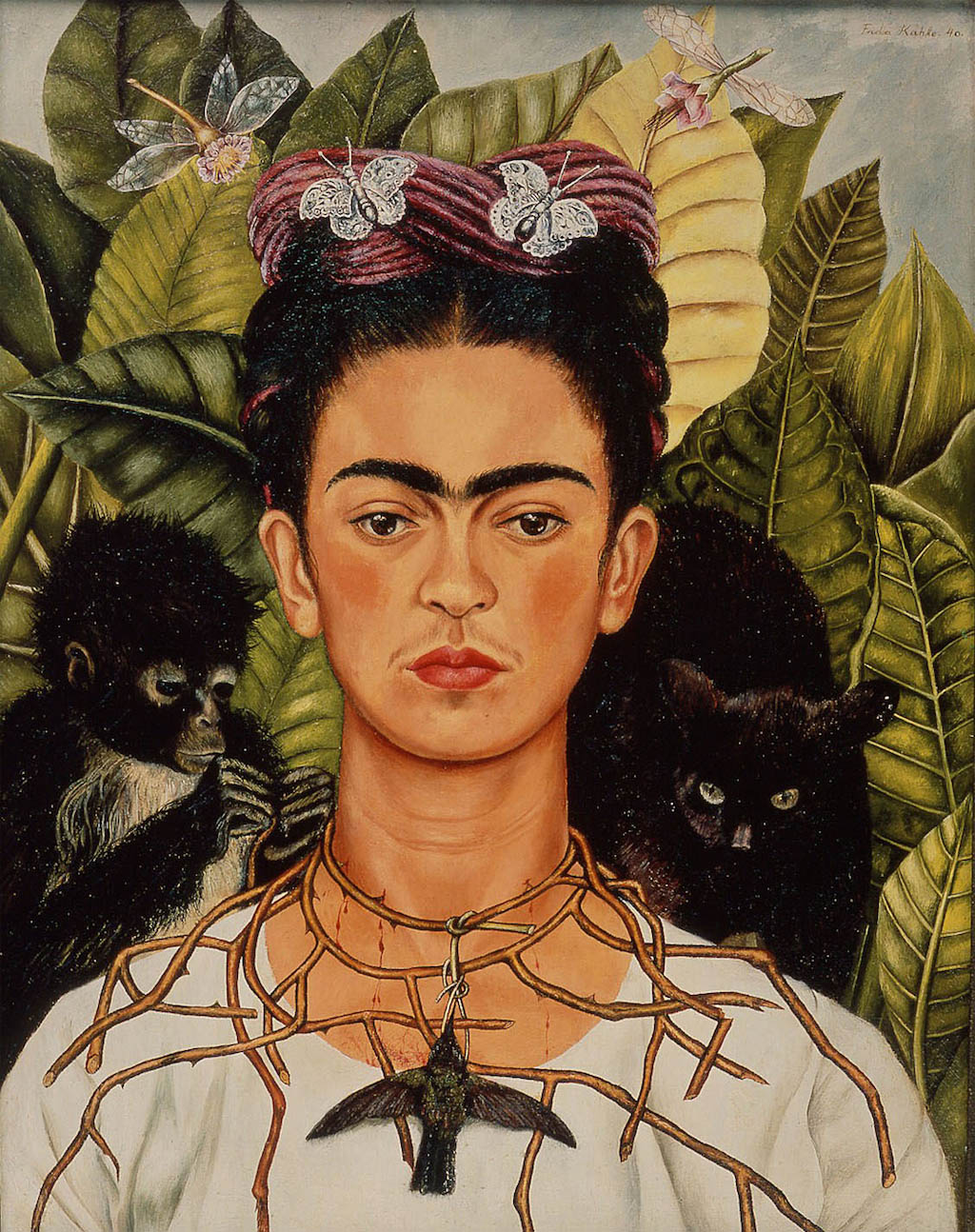 Frida Khalo<br> Autoretrato con un collar de espinas. 1940