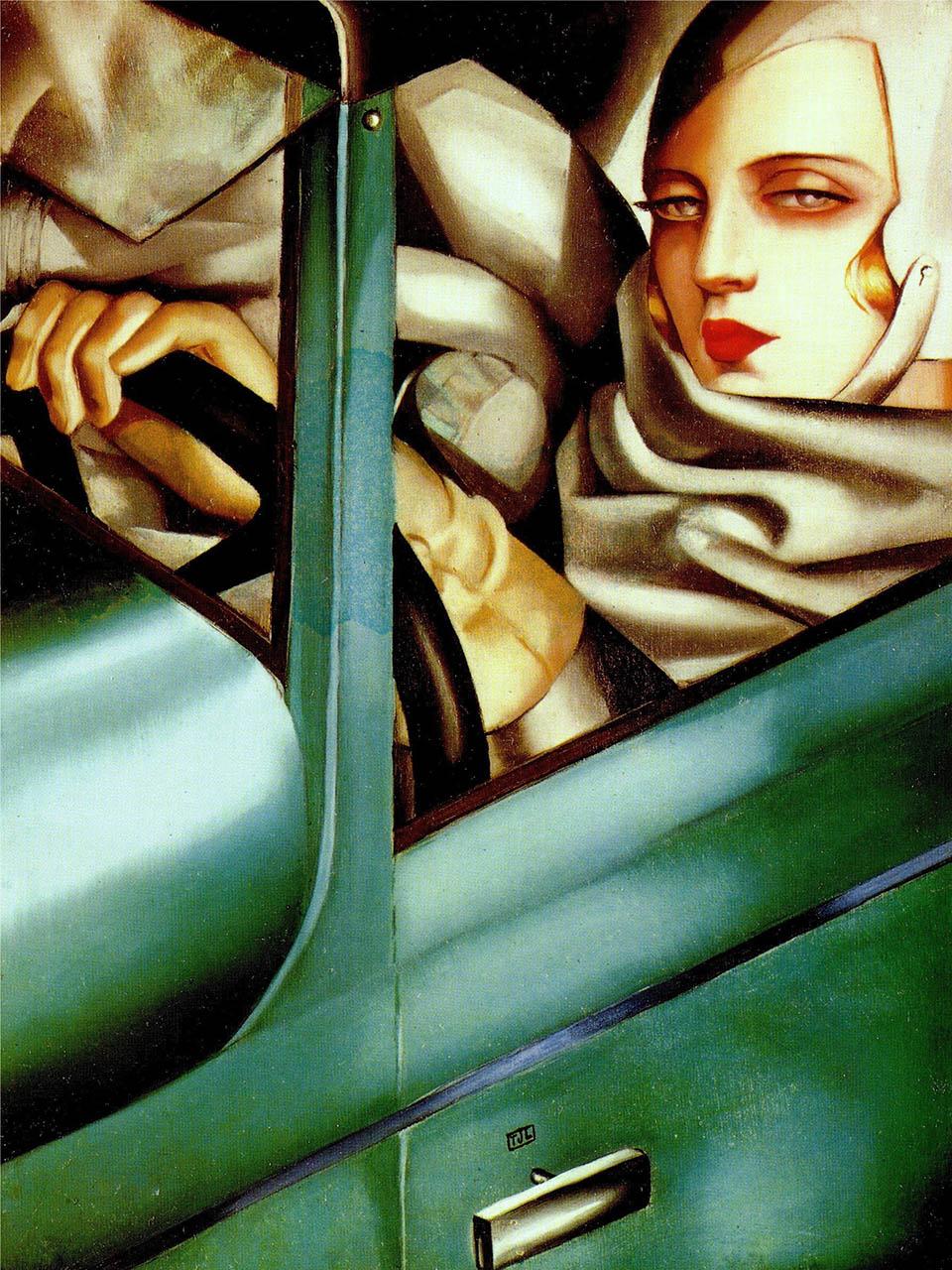 Tamara de Lempicka Tamara <br>in a green Buggatti 1929