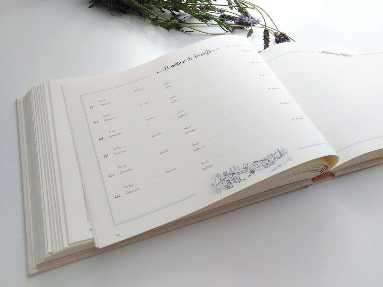 Página para firmas y datos<br> de los viajeros.