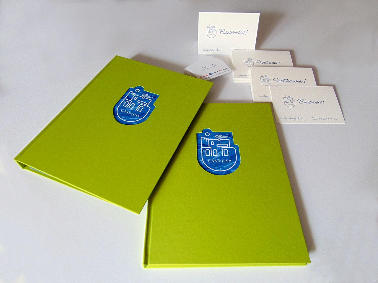 Casa Ilsa. Carpeta, libro de firmas,<br> tarjetas de visita y de bienvenida